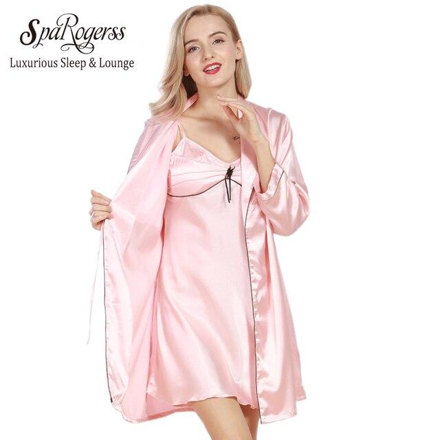SpaRogerss Women Robe Gown Sets Brand 2018 New Luxury Ladies Faux ...