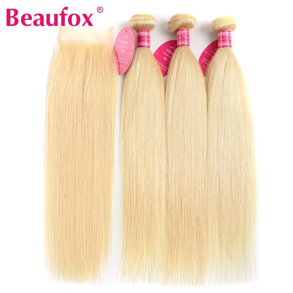 Beaufox 613 Blonde Peruvian Straight Hair 3 Bundles With Closure Peruvian Hair Weave Human Hair Bundles With Closure Remy