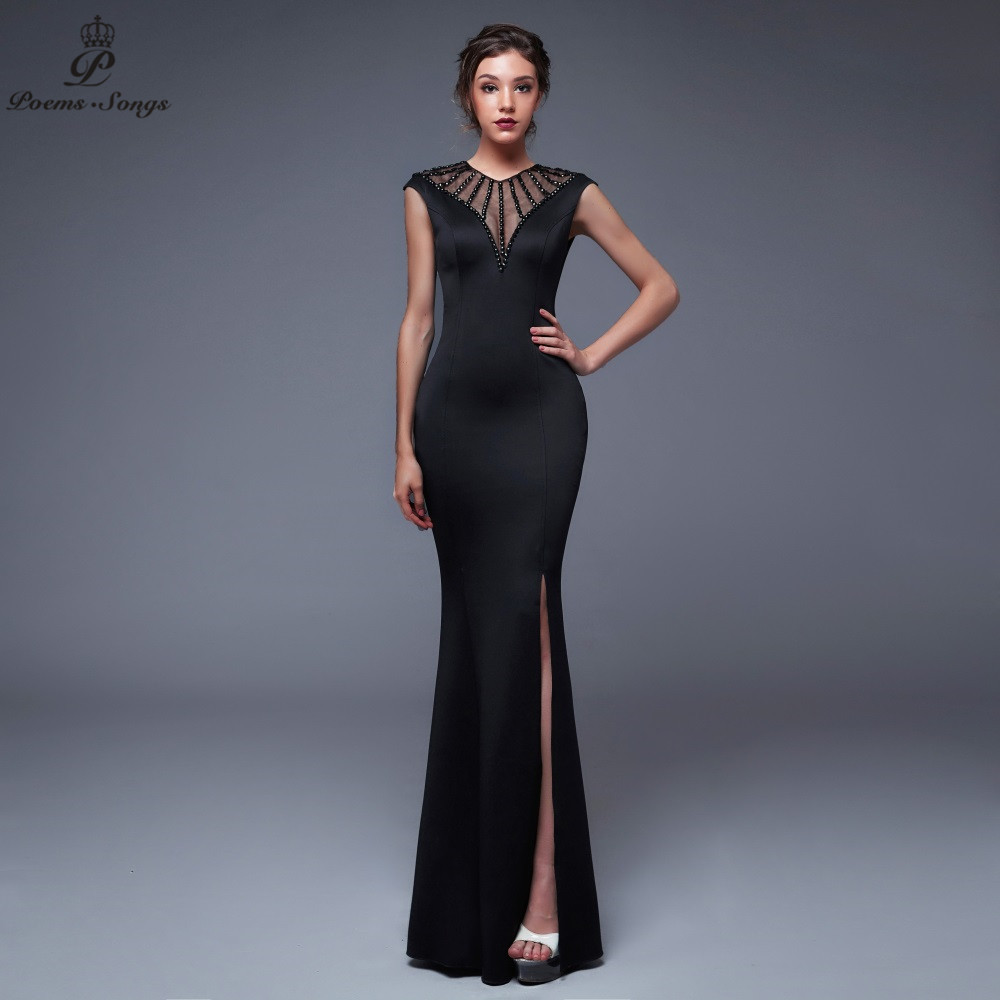 Poems Songs2019 Backless O-neck Evening Slit Side Open Prom Formal Party Dress Vestido De Festa Elegant Vintage Robe Longue