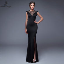Poesie Songs2019 Backless O-Collo Da Sera Con Lo Spacco Laterale Aprire di Promenade Convenzionale Del Partito del vestito vestido de festa Elegante Vintage robe longue(China)