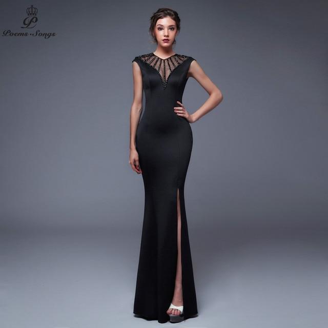 Poems Songs2019 Backless O neck Evening Slit Side Open Prom Formal Party dress vestido de festa Elegant Vintage robe longue