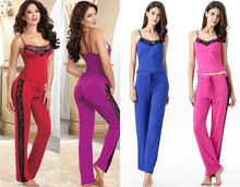 2016 Sexy Pajamas For Women Lace decorative Soft Cotton Stretch Straps Sleepwear Cami and Pajama Pants SlimYoga clothes 4 Colors