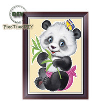 FineTime 5D DIY Diamond Embroidery Butterfly Panda Partial Drill Animals Diamond Painting Cross-stitch Mosaic Painting finetime lucky fish 5d diy diamond painting partial drill diamond embroidery cross stitch animals mosaic painting