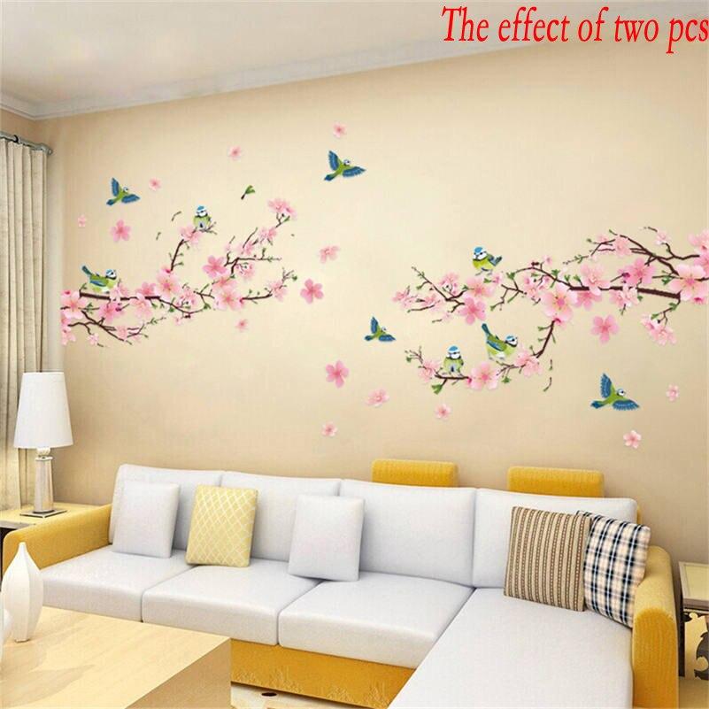 unid sakura pegatinas de pared para nios dormitorio sala de estar diy arte pvc hermosa flor rbol extrable