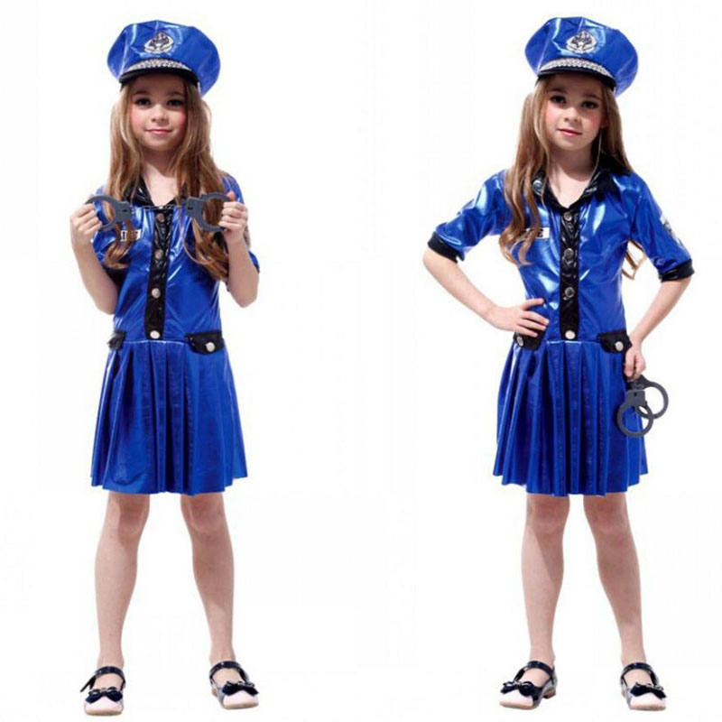 Girl Policewomen Halloween Party Cosplay Navy Blue Policewoman Costume Dress and Hat for Kid Masquerade Role Play Rave Party