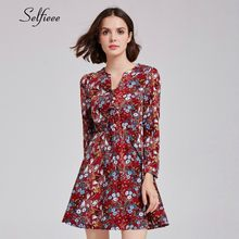Floral Print Burgundy Short Women Dresses A-Line Long Sleeve Laides Sweet Casual Boho Summer Beach Dresses 2019 Zomer Jurk(China)