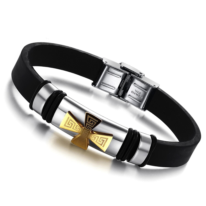 97e635b6e830 Venta caliente de la joyería de la manera 316l Acero inoxidable silicona  Accesorios pulsera Cruz patrón brazalete masculino Brazaletes para hombre  fresco ...
