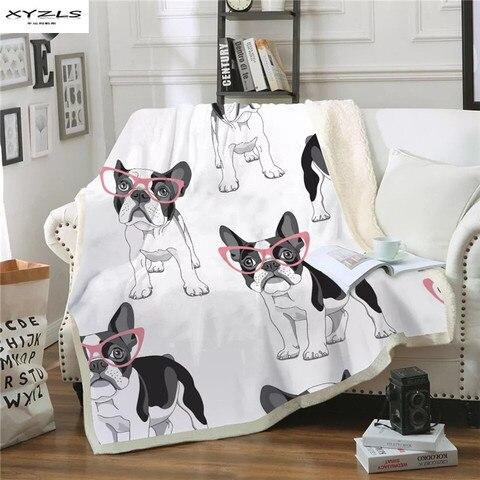Cobertores na Cama Animal dos Desenhos Cobertor de Pelúcia Lance para Crianças Xyzls Moderno Macio Cordeiro Veludo Animados Colcha Bulldog Sofá Capa 1 Peça