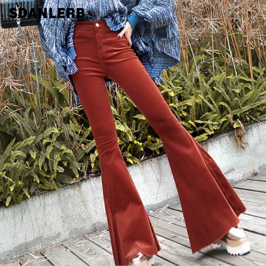 Corduroy high waist flare   pants     capris   Women high waist casual   pants   bottoms Khaki bodycon streetwear party club trousers