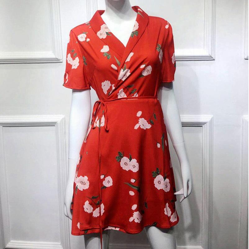 Femmes Femme Courtes Vintage Mini Wrap Dames Courte Rouge D'été Manches À 2019 Robes Ete Robe Floral n6naw