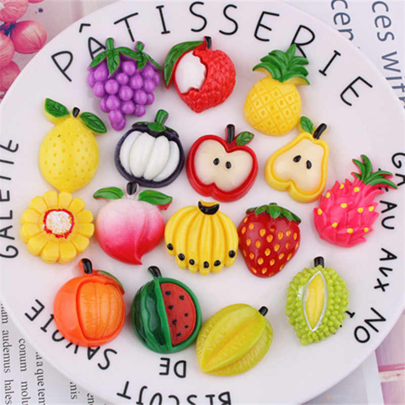 8PC Small Artificial Resin Fruit For Slime DIY Fluffy Clay Kids Toy Pretend Play Doll House Decoration