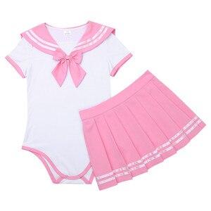 Image 4 - IEFiEL Vrouwen Sexy Cosplay Lingerie Schoolmeisje Student Uniform Kostuums Outfit Sets Snap Kruis Romper met Mini Plooirok