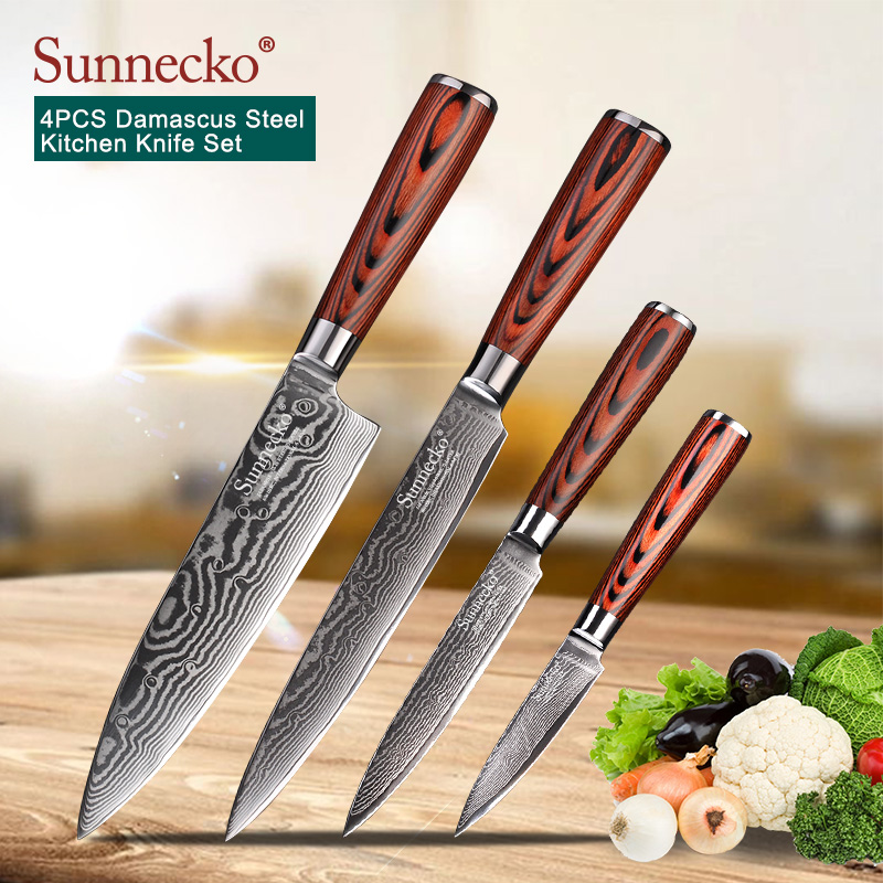 SUNNECKO 4PCS Kitchen Knives Set Utility Chef Knife 73 Layers Damascus VG10 Steel Sharp Blade Cutting