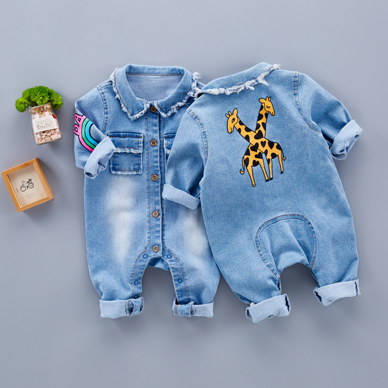 Spring Baby Toddler Long Sleeve Lapel Collar Denim Jeans Giraffe Rainbow Pattern   Rompers   Kids Infant Jumpsuits roupas de bebe
