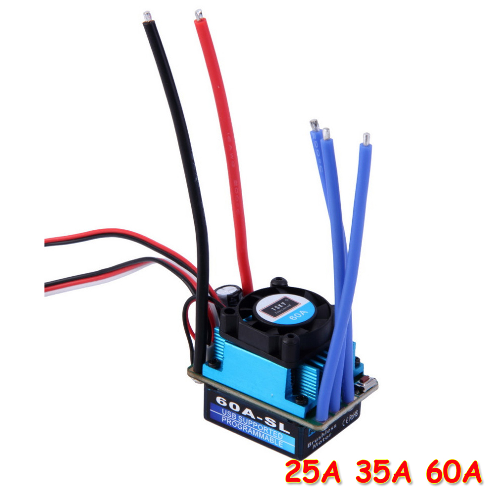 1pcs Racing 25A 35A 60A SL Brushless Speed Controller ESC for RC 1/10 1:10 1:12 Car Truck Drop freeship