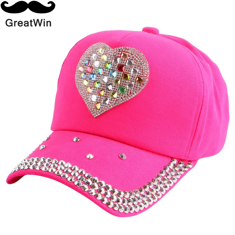 new fashionable kids beauty baseball cap fuchsia pink black color rhinestone heart fitted baby girl boy children snapback hat