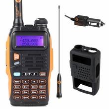 Baofeng gt-3 mark ii vhf/uhf 136-174/400-520 mhz dual band fm rádio em dois maneira de Rádio Amador Walkie Talkie Carregador de Carro Cabo Soft Case gt3