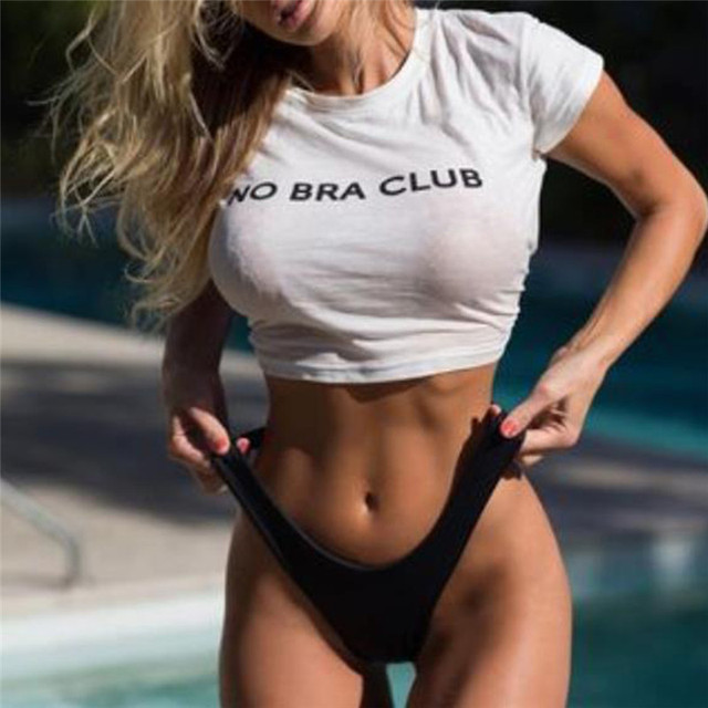 Women Sexy Cropped NO BRA CLUB Print T shirt T Shirt Fashion Cotton Tee  Shirt Femme Crop Top-in T-Shirts from Women s Clothing on Aliexpress.com  c9c27ace27