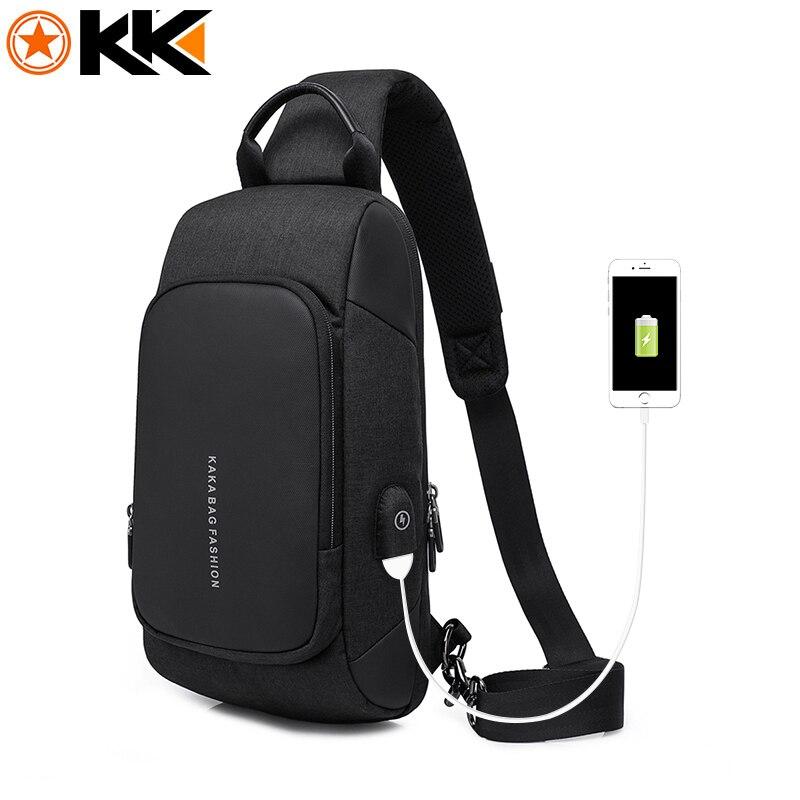 KAKA 2018 Luxury Brand Chest Bag USB Messenger Crossbody Bags for Men Nylon Shoulder Sling Bag Waterproof Summer Short Trip