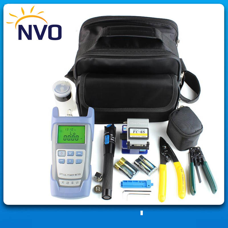 Fiber Optic FTTH Tool Kit with FC-6S Fiber Cleaver and Optical Power Meter 10Mw Visual Fault Locator Wire stripper