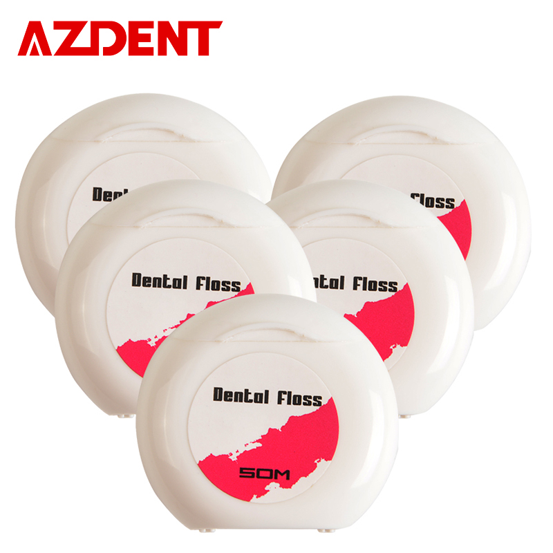 AZDENT 5 Rolls / Lot Waxed Dental Flosser Indbygget Spool Wax Replacement Flat Wire 50m Dental Floss Interdental Brush Tandstikker