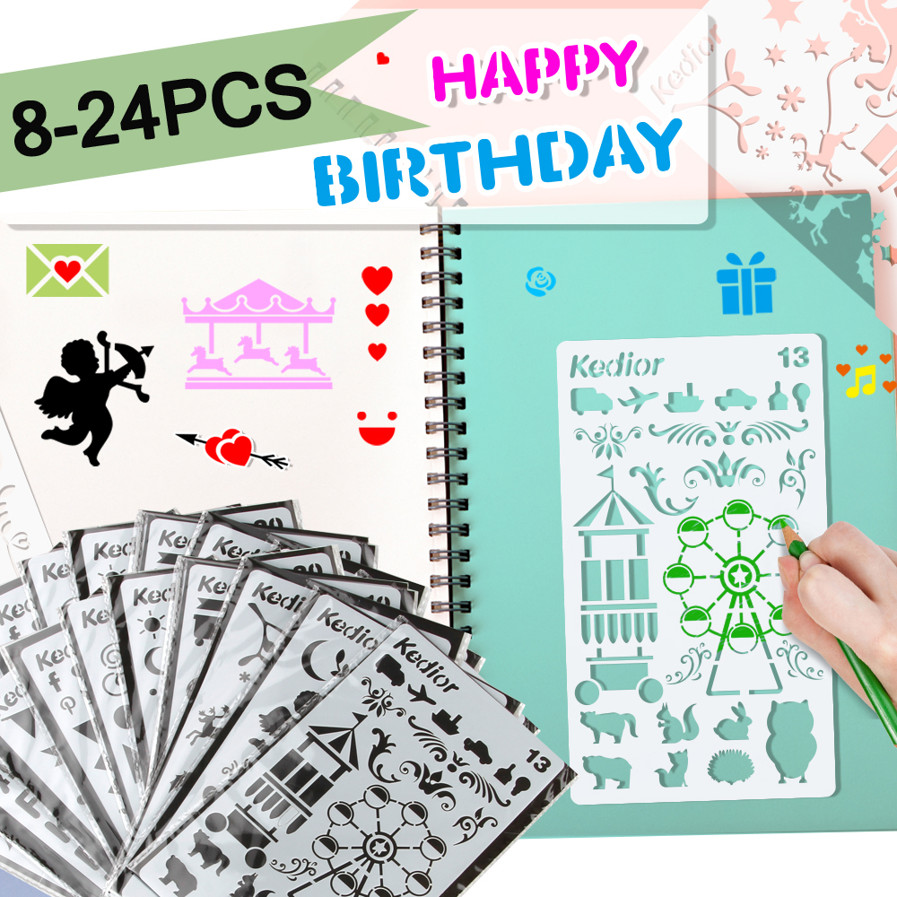 24/12pcs Bullet Journal Stencil Plastic Planner Stencils Journal/Notebook/Diary/Scrapbook DIY Drawing Template Stencil 4x7inch