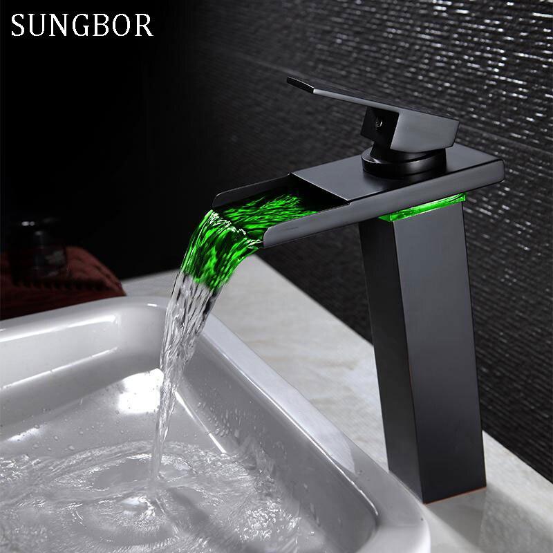 Noir eau alimenté robinet à LED salle de bains bassin robinet en laiton mélangeur robinet cascade robinets chaud froid grue bassin robinet AL-7193H