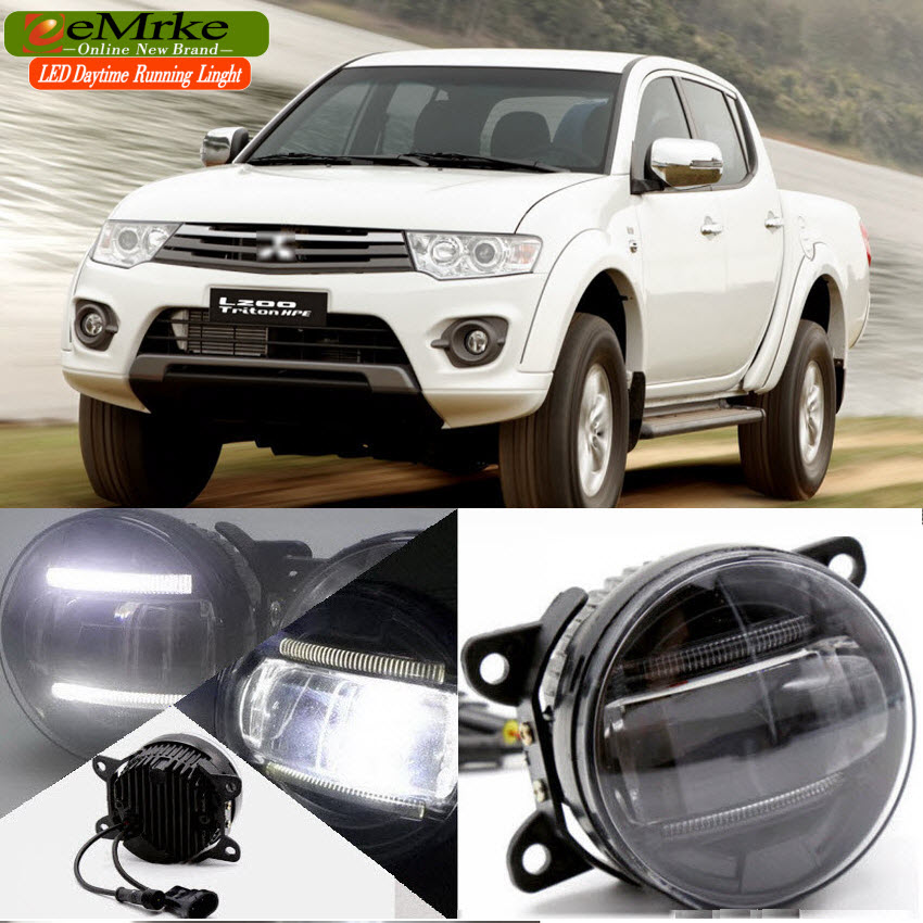 eeMrke Car Styling Led DRL For Mitsubishi Pajero Sport 2015 2016 2 in 1 LED Fog Lights Lamp With Q5 Lens Daytime Running Lights eemrke car styling for opel zafira opc 2005 2011 2 in 1 led fog light lamp drl with lens daytime running lights