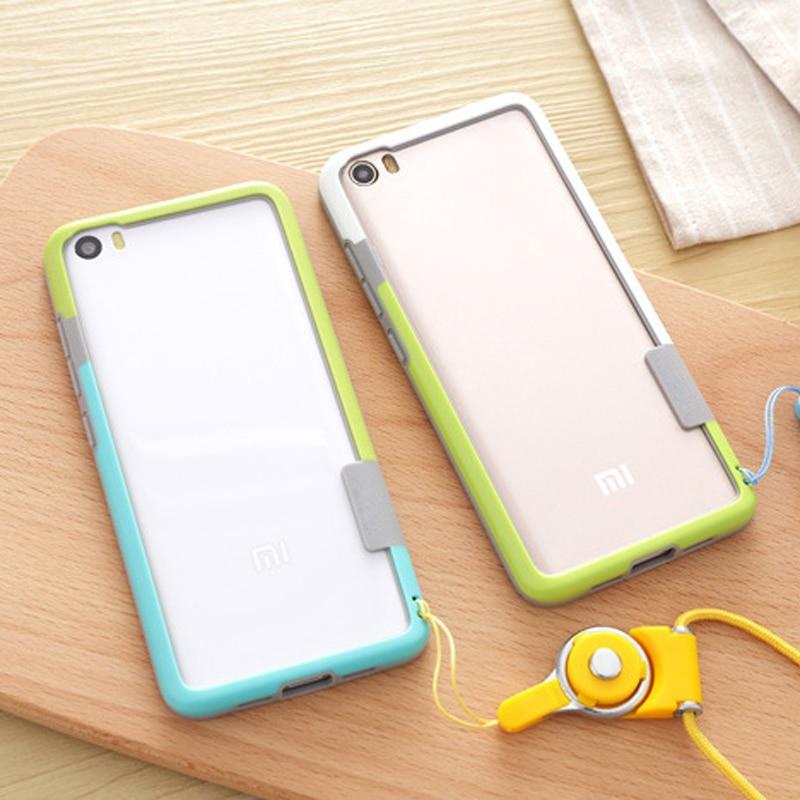 Soft Skin case bumper para xiaomi mi 5 case TPU Silicone Anti-Knock phone bumper case frame para xiaomi mi5 M5 con cordón CAPA