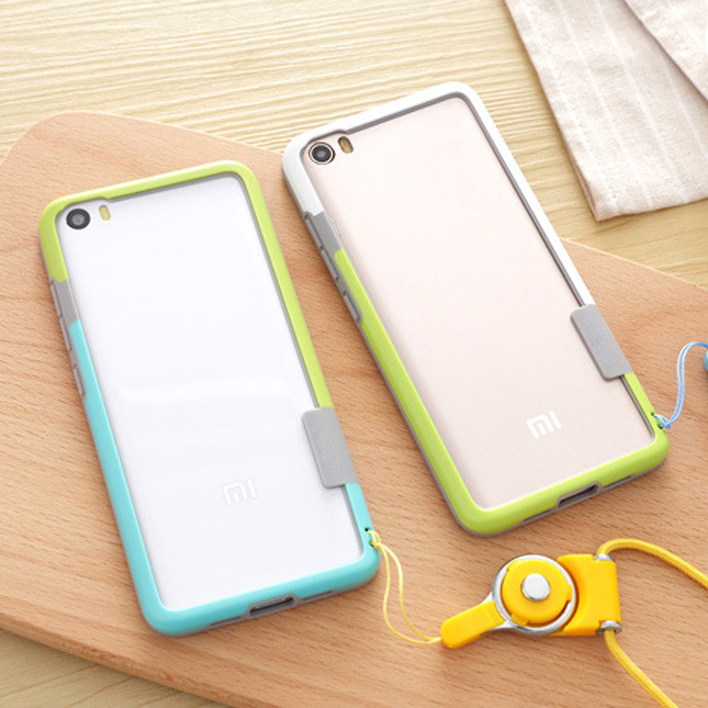 Soft Skin-fodral för xiaomi mi 5-fodral TPU Silikon Anti-Knock-telefon-stötfångarram för xiaomi mi5 M5 Med lanyard CAPA