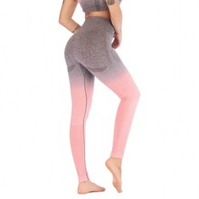 Women Gradient Yoga Pants Hip Push Up Compression Running Tights High Waist Elastic Gym Fitness Sport Leggings Seamless Pants women s compression sports yoga pants grey knitted seamless leggings elastic gym fitness workout running tights push up trousers
