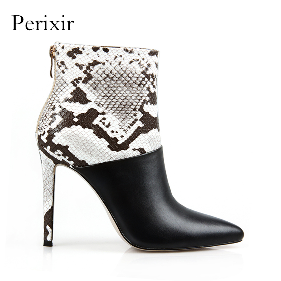 Perixir Patchwork Sexy Snake Skin Ankle Boots for Women Shoes Pointed Toe Thin High Heels Botas Mujer Bottine Femme Talons Hauts цена