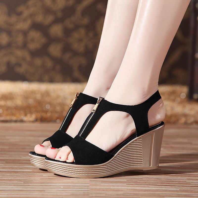 LAKESHI נשים סנדלי טריז סנדלי פלטפורמת Zip קיץ נשים נעלי בוהן ציוץ שחור גבירותיי סנדלי 2019 נשים נעלי גודל גדול 43