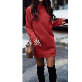 Knitted Winter Dress Women Casual O-Neck Black Red Warm Elegantn Long Sleeve Sexy Knitted Sweater Dress Female Wholesale 3