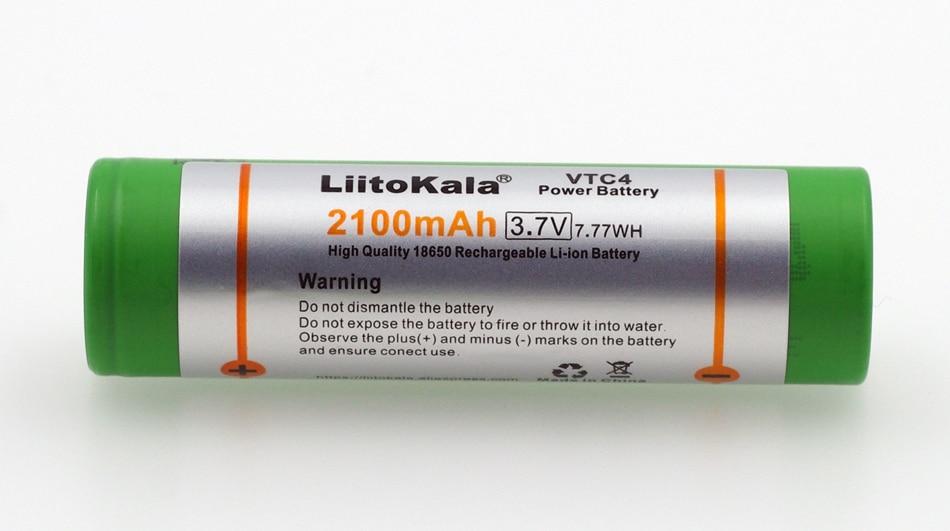 1PCS/lot Liitokala New 100% Original 3.6V 18650 VTC4 2100mAh High drain 30A battery For Electronic cigarettes batteries