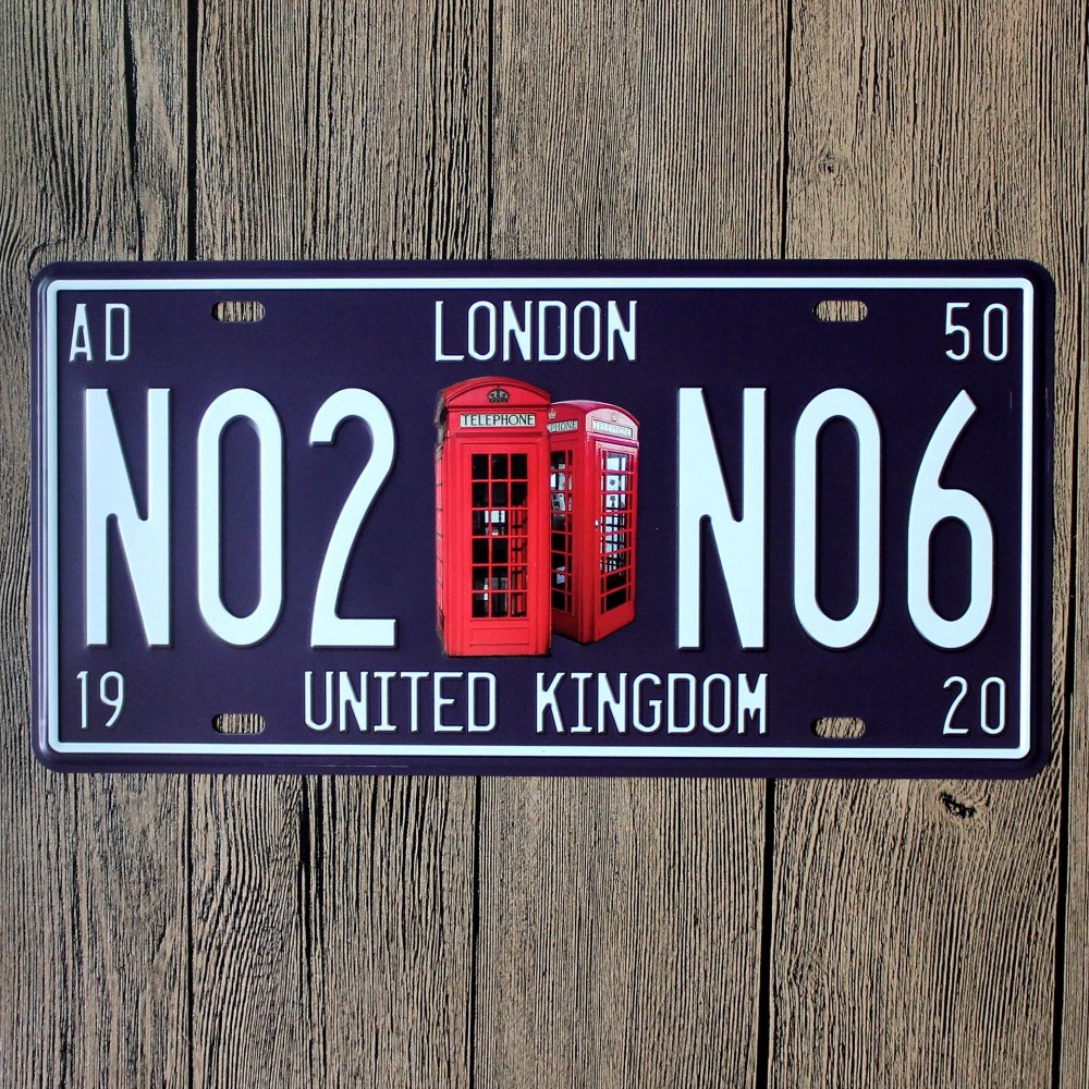 Direct selling LOSICOE Vintage license plate N02 N06 Wall art craft metal painting vintage Iron for bar home decor 15X30 CM