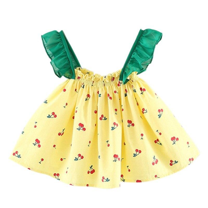 1-3T Summer Baby Girls Cute Dress Infant Kids Printed Sleeveless Dresses Newborn Children Newly Fashion Clothing