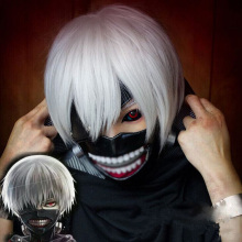 Tokyo Ghoul Kaneki Ken Mask Adjustable Zipper Masks PU Leather Cool Mask Blinder & Wigs Halloween Accessories