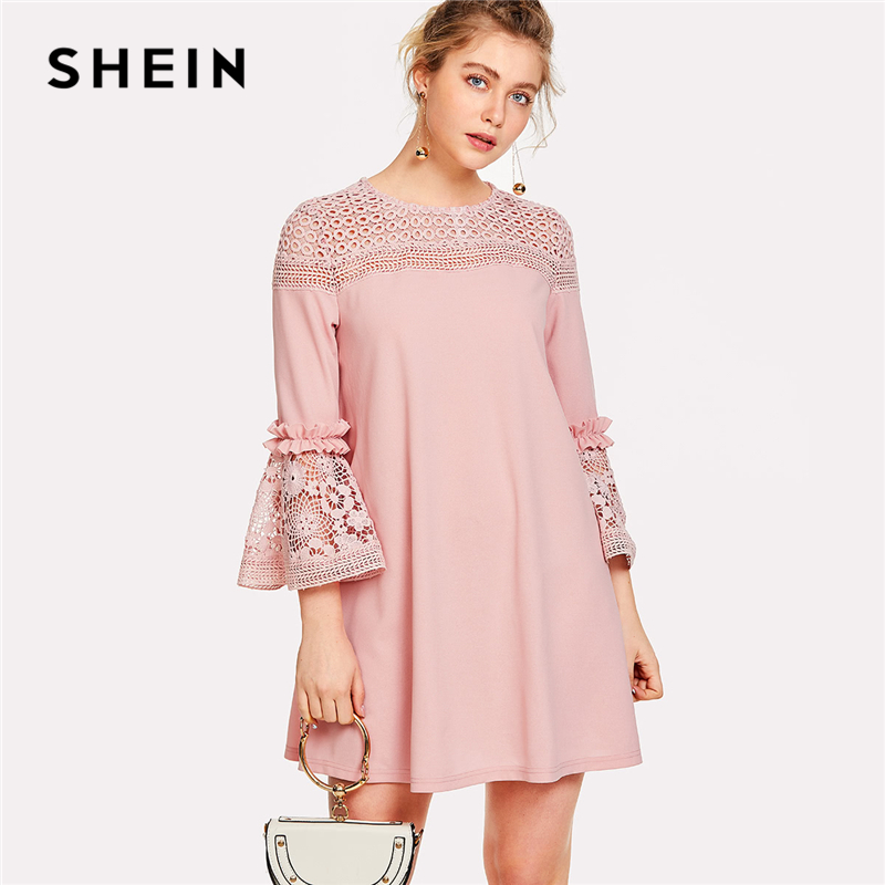 SHEIN Pink Elegant Ruffle Dress 180226718