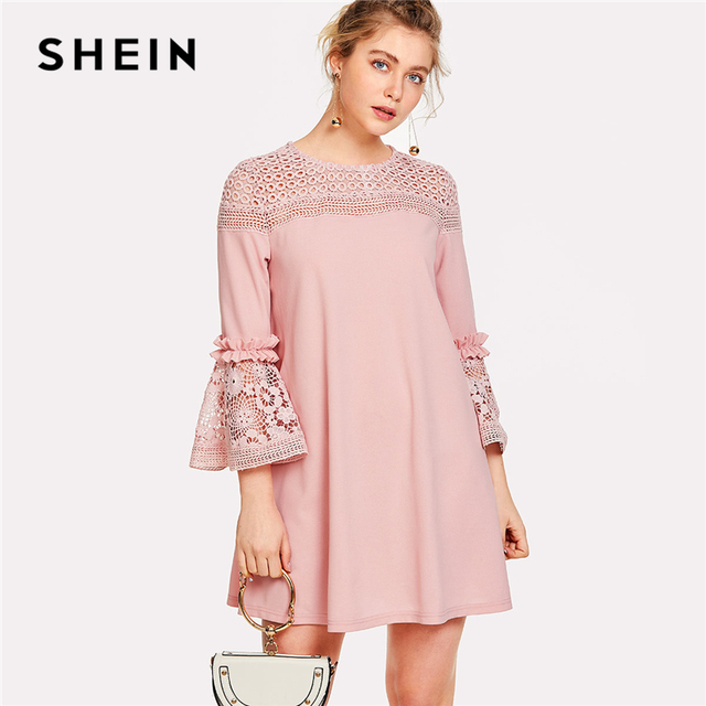 71adcd7a285 US $21.0 40% OFF|SHEIN Eyelet Crochet Lace Detail Frill Trim Dress 2018  Summer Round Neck Butterfly Sleeve Dress Women Pink Elegant Ruffle Dress-in  ...