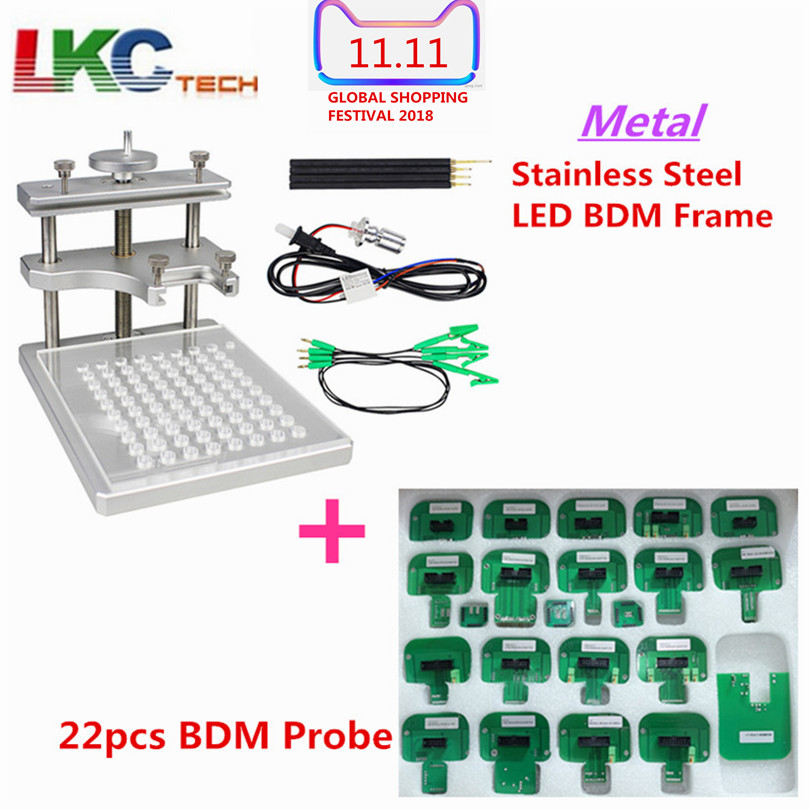 DHL Free Newest BDM FRAME with Full Set Adapters for Fgtech BDM100 programmer JFIND stainless steel with 22pcs Adapters цена