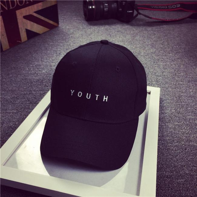 Embroidered Cotton Baseball Cap Boy Girl Universal Trend Hip Hop Flat Cap Black Z119 Be Friendly In Use