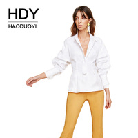 HDY Haoduoyi Women Casual Office Lady Solid Tops Blouse With Waist Tie Turn Down Collar Long Lantern Sleeve Basic Shirt