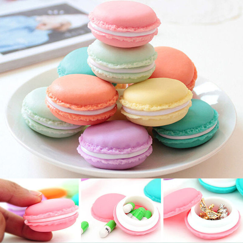 1Pcs Earring Rings Necklace Jewelry Organizer Pill Box Candy Jewelry Storage Box Mini Macaron Case Gifts For Girls Kids Portable