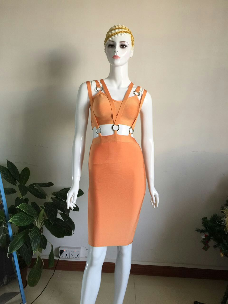 2017 orange bandage dress bodycon sexy backless women dresses short hollow out spaghetti strap v neck vestido party