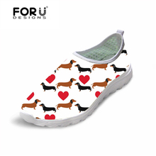 FORUDESIGNS Cute Animal Dachshund Printed Comfort Breathable Mesh Shoes for