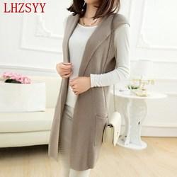 New spring and autumn cashmere blending waistcoat female hooded vest female sleeveless knit cardigan fashion jacket.jpg 250x250