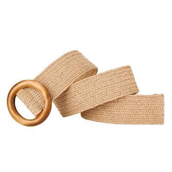 Vintage Women Round Wooden Buckle Braided Waist Strap Belt Adjustable Wristband