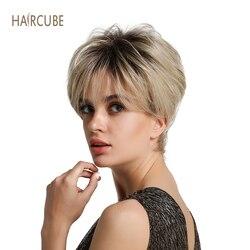 Haircube 6 peluca sintética corta para mujer con raíces oscuras mezcladas 50% pelo humano Real aspecto natural y estilo de larga duración