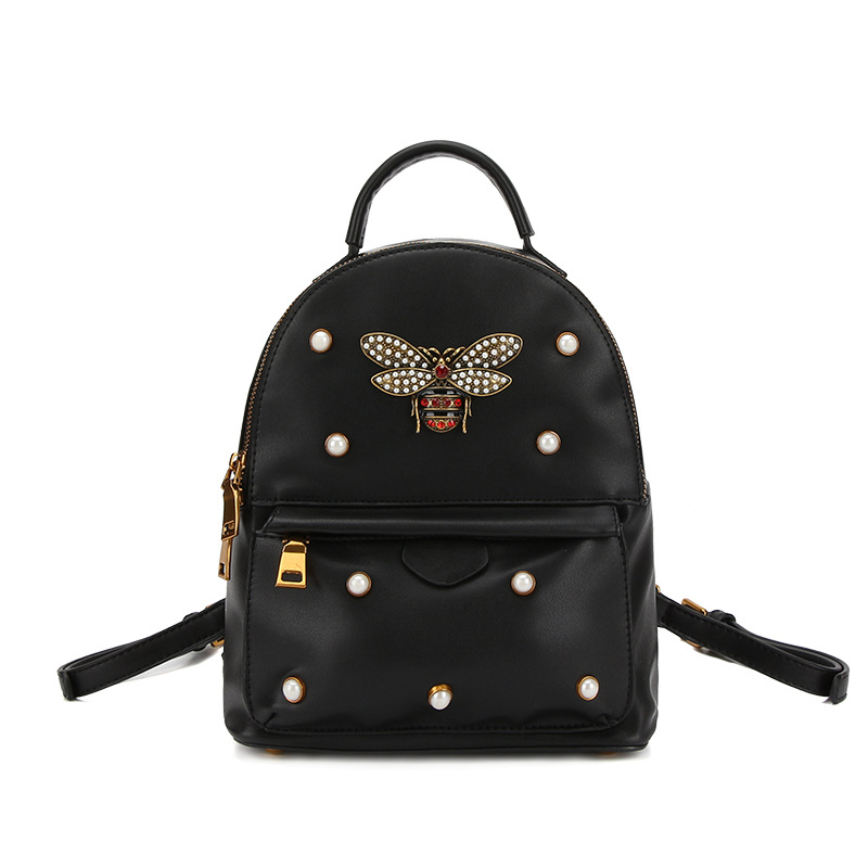 2018 Summer Fashion Women Zipper Pocket Bee Pearl Rivet Backpacks Rucksack Red Bags Travel Shoulder Bag Straps Can Be Removed zipper fly pocket rivet scratched ripped jeans